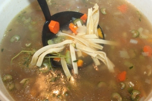 We use homemade egg noodles to our chicken soup