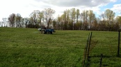 Spraying in the field behind us - the netting you see close by is some of the  outdoor chicken run