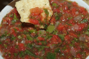 Garden fresh salsa ready to be eaten!
