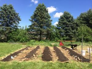Dustin's raised row garden as he built it this Spring